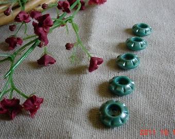Five Vintage Green Button LOT