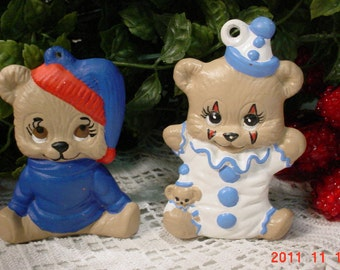 1985 Vintage Hand Made Ceramic Teddy Bear Christmas Tree Ornaments