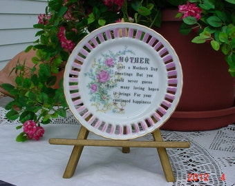 Vintage Mother's Day Plate with Gold Wood Easel