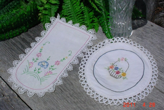 Vintage Embroidered Table Doilies Small Floral Collectible