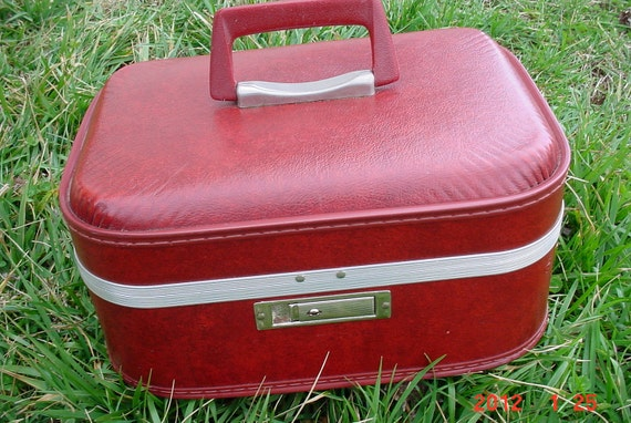 1960s Vintage Cranberry Red Traincase LUGGAGE Overnight Case