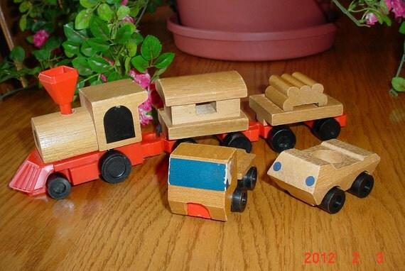 1970s Vintage Wood MATTEL Train and Trucks