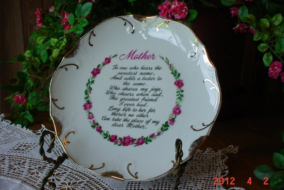 Vintage Mother's Day Poem Plate