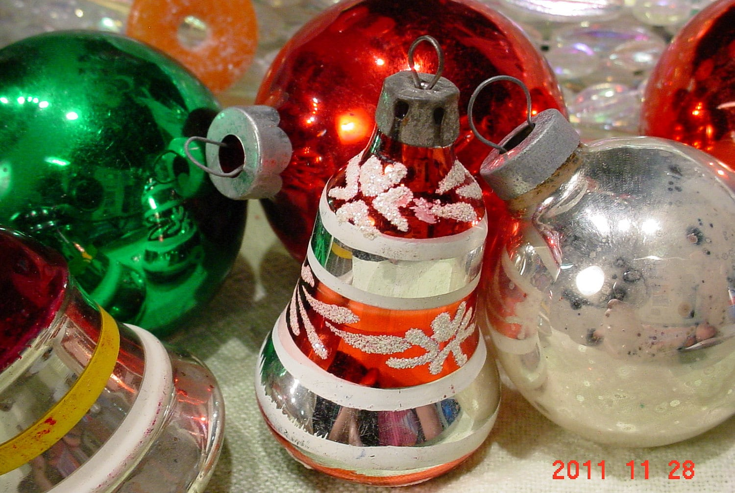 1960s Vintage Glass Christmas Tree Ornaments Mica Bells