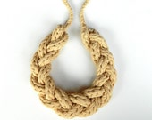 T Shirt Yarn Necklace Braided Neutral Jewelry - Beige