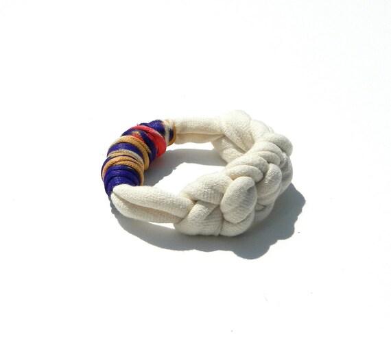 T Shirt Yarn Braided Bracelet - Ivory and Vintage Fabric