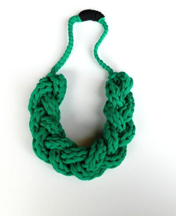 Handmade Statement Jewelry  - Upcycled T Shirt Necklace  - Braided Fabric Yarn - Kelly Green