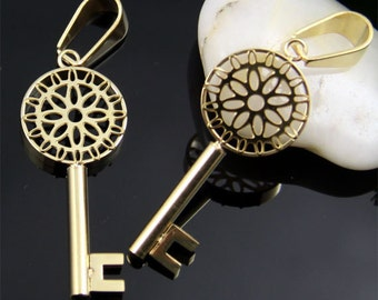 Gold Key Stainless Steel Pendant