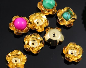 10pcs 3D Gold Rose Flower Bead Cap Charm
