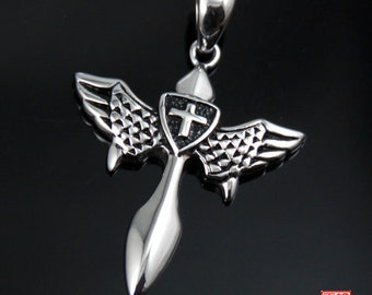 Winged Cross Stainless Steel Pendant-SZJ02