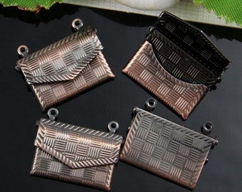 5pcs Copper Tone Envelope Locket Charm