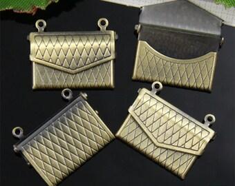 5pcs Bronze Envelope Locket Charm