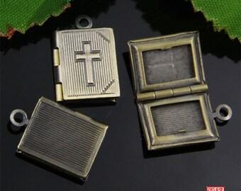 5pcs Small Bronze Bible Book Locket