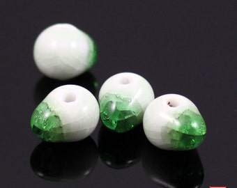 10pcs Unique Green Water Drop Porcelain Bead-WD003