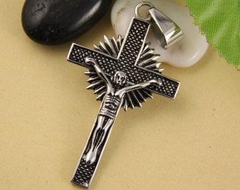 Jesus Crucifix Stainless Steel Pendant-002