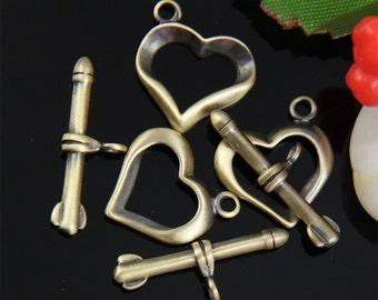 4 Sets Brass Heart Toggle Clasp-TC004