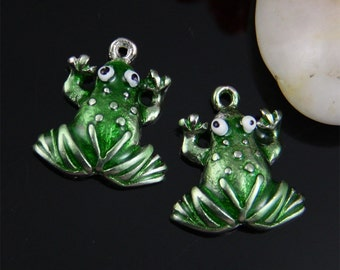 4pcs Little Green Frog Charm