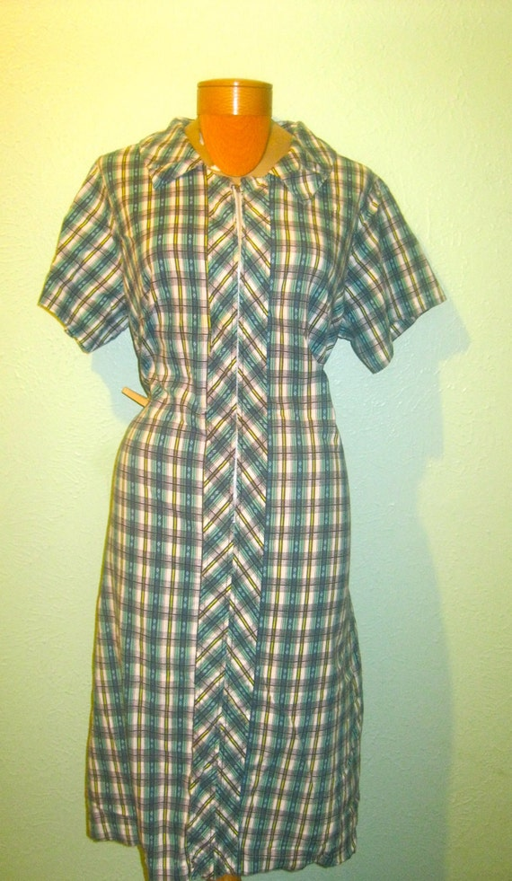 1940's /1950's SEARS Fashions Green Yellow and White Vintage Frock XL XXL