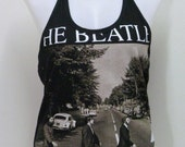 THE BEATLES DIY Rock Lady Shirt Metal Punk Halter Top Women New Size M
