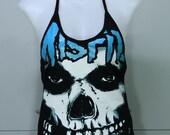 THE MISFITS DIY Rock Lady Shirt Metal Punk Halter Top Women New Size M