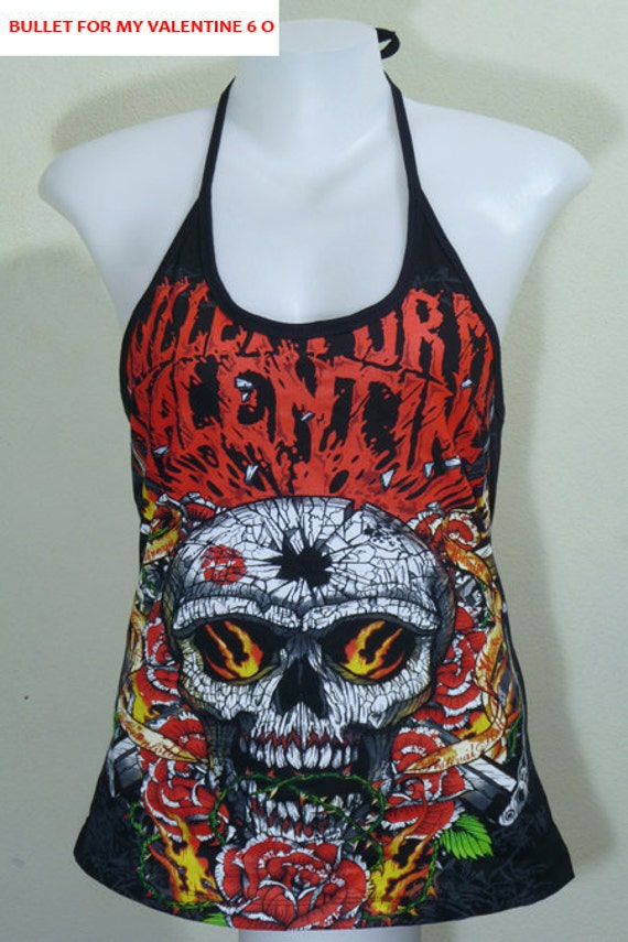 Bullet For My Valentine DIY Rock Shirt Metal Punk Halter Top Women New Size M