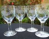 Vintage Crystal Wine Glasses -  Retro Bar Ware