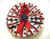 Red, White and Blue Stripe Hair Bow - Patriotic Salute Decor