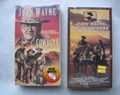 Vintage John Wayne VHS Set - The Cowboys and The Searchers - New
