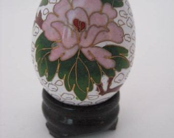 Vintage Cloisonne Egg with Pink Lotus Flower on Wooden Base