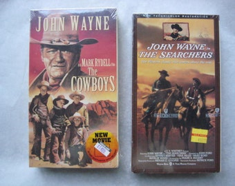 Vintage John Wayne VHS Set - The Cowboys and The Searchers - New