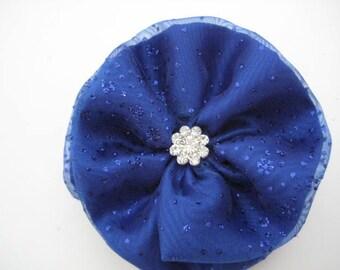 Sapphire Blue Hair Bow with Rhinestone Jeweled Center - Wedding Accessory