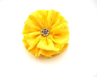 Yellow Hair Bow with Pink and Silver Rhinestone Center