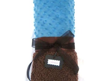 """Baby Stroller Blanket - """"Cuddle"""" Cobalt Blue and Chocolate Brown Minky with Satin Binding"""