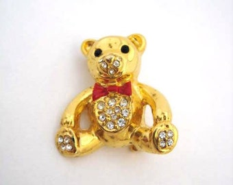 Vintage Gold Teddy Bear Rhinestone Brooch -