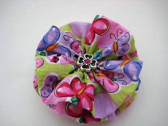 Butterfly Hair Bow with Pink Rhinestone Button Center