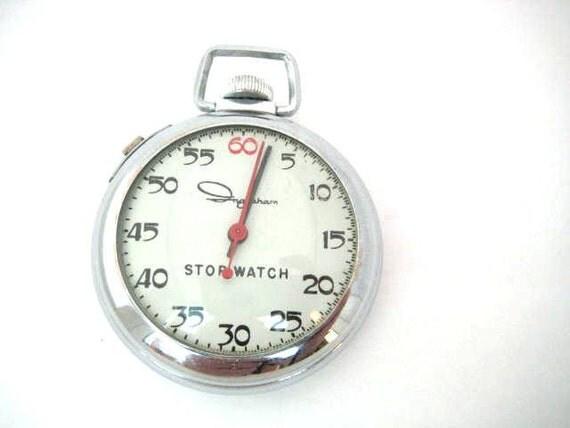 Vintage Ingraham Stop Watch -  Silver - SALE