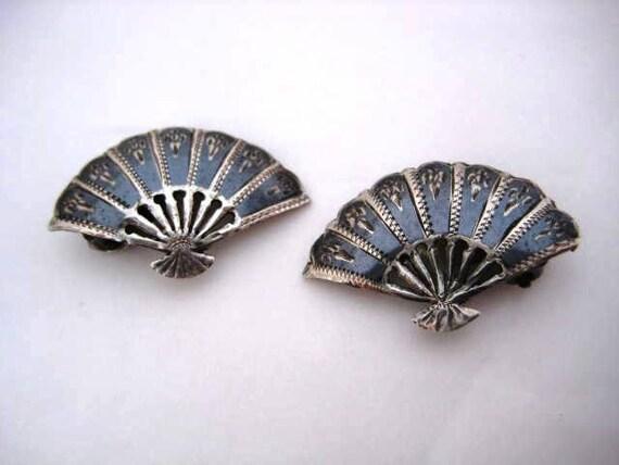 Vintage Sterling Earrings -Siam Niello Sterling  Fan Shaped Clip Ons