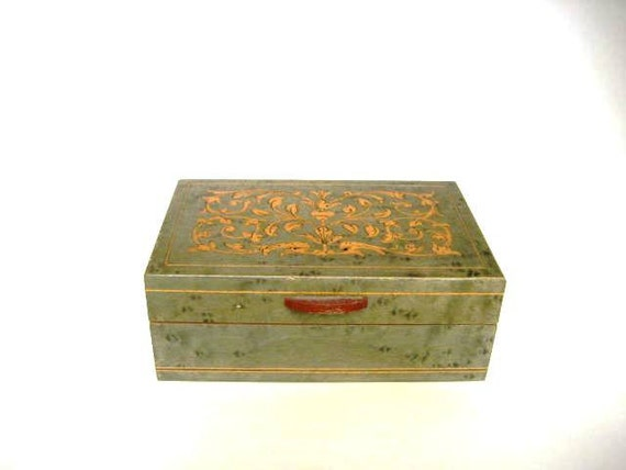 Vintage Italian Jewelry Box Gabriella  Via Tasso 10  Inlaid Wooden - Made in Sorrento Italy