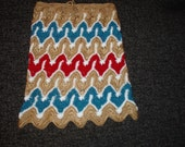 Handmade crocheted multicolor zigzag pattern hippie bohemian girls skirt spring summer fashion