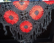 Crochet Lace Red and Black Triangle Flamenco Shawl with Fringe