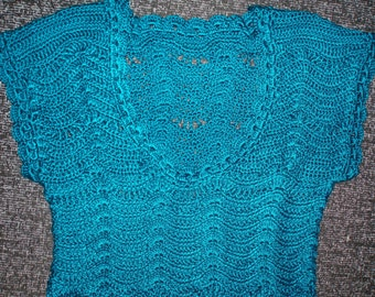 SALE Crochet lace teal dark green tunic tutu dress Free shipping!