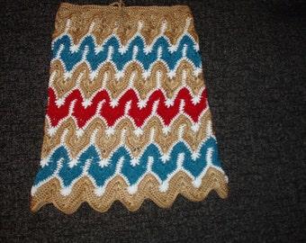 Handmade crocheted multicolor zigzag pattern hippie bohemian girls skirt spring summer fashion