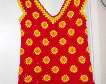 Handmade crochet hippie hot red cotton tunic dress with orange yellow flowers