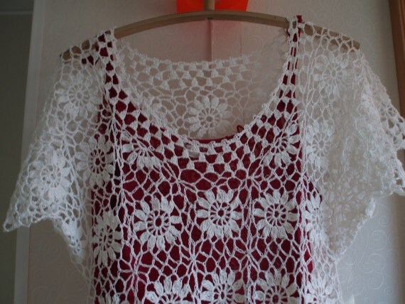 Crocheted white Flower bleached linen women lace  eco dress tunic