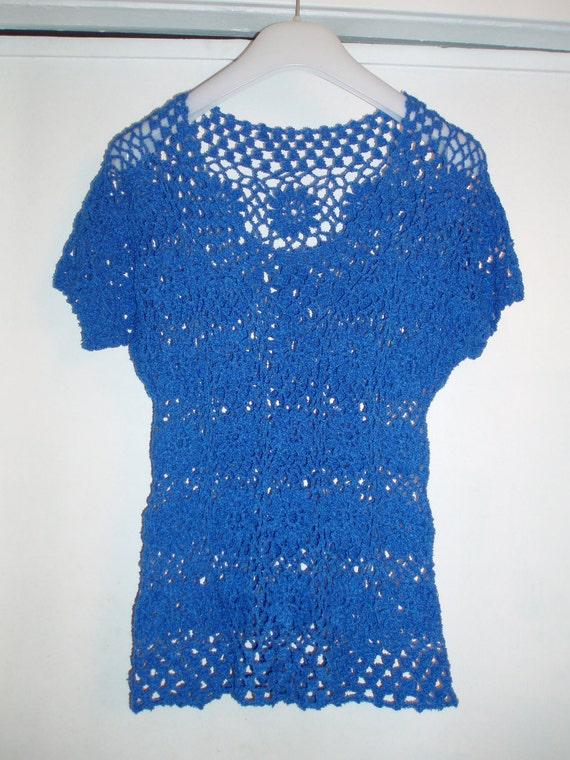 Crochet navy blue  flower romantic  top shirt sweater blouse