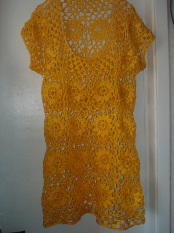 Crochet lace sunny yellow dress tunic with flowers fall summer fashion