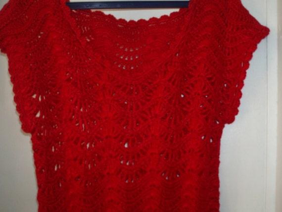 Crochet hot red womens girls christmas tunic dress
