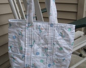 Cotton White w/baseball theme Tote Bag with six outside pockets & lined