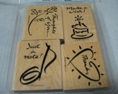 Sale Stampin Up Notable Notes Set of 4 Gently Used 1999 Stampin Up