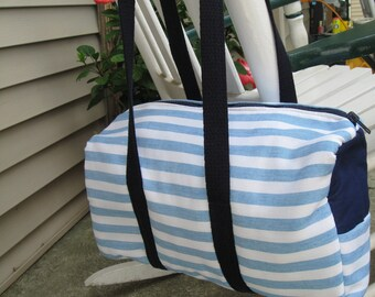 SALE Cotton Barrel Bag Purse or Tote 1 Pockets on the inside and 1 on the outside at each end Handmade